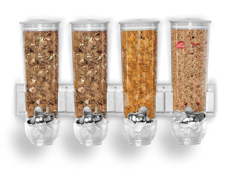 Dispenser di cereali con montaggio a parete, singolo, doppio o triplo, distributore di cereali ermetico con contenitore trasparente, con vaschetta integrata per alimenti secchi, cereali per la colazione, cibo per animali, gatti, cani, caramelle e cibo per