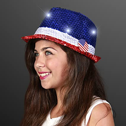 04be1f3505d Amazon.com  Red White   Blue Sequin Light Up LED Fedora Hat  Toys   Games