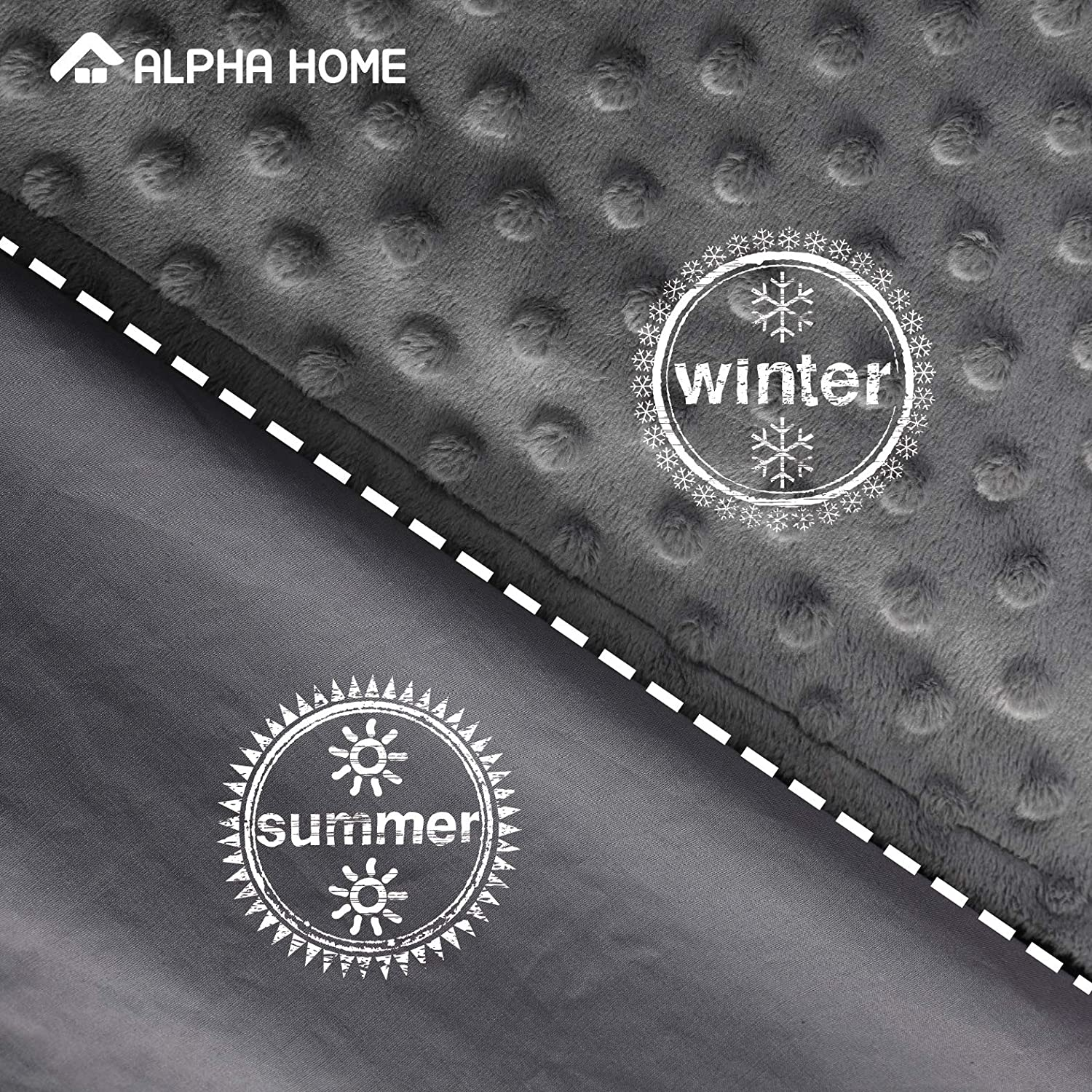 ALPHA HOME Removable Duvet Cover for Weighted Blanket 36x48 Reversible Design Cream