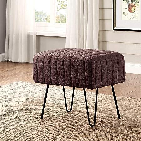 Home Soft Things Serenta Super Mink Faux Fur Ottoman Bench, 19 x 13 x 17 H, Chocolate