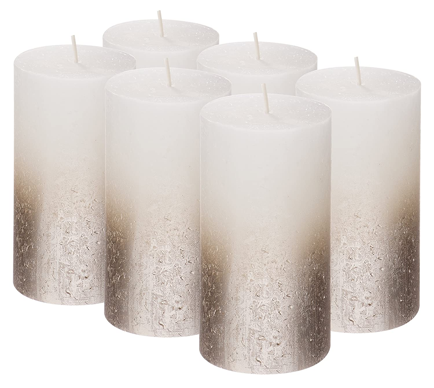 Bolsius Rustic Set of 6 Pillar Candles – 5 x2.75 Inches Metallic Unscented Candles – White Candles with Silver Coated Bottom – Nice Candles – Pillar Candles – Home & Party Decorations