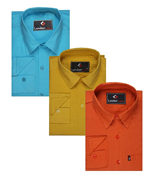 e77b8f4ac7c London Looks Multi Color Formal Shirts Combo of 3 (Xx-Large)  Amazon ...