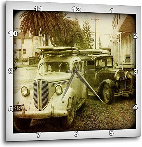 3dRose DPP_98670_3 Vintage Classic Old Woody Surf Car-Wall Clock, 15 by 15-Inch