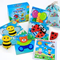 Wooden Animal Puzzles for Toddlers 1 2 3 4 Year Old Girls & Boys, Sensory Toys, Bright Vibrant Colors, Eco-Friendly Educational Learning Toys, 4 Puzzles + Gift Box + Bag + Matching Coloring Book