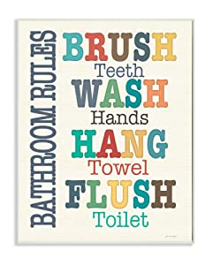 The Stupell Home Decor Collection Colorful Bathroom Rules Typog Wall Plaque Art, 10 x 0.5 x 15, Proudly Made in USA - wrp-1099_wd_10x15