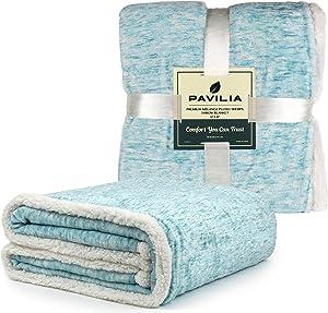 PAVILIA Melange Sherpa Blanket Throw Twin Size Sea Blue Turquoise | Soft, Fluffy, Microfiber Fleece Blanket for Couch Sofa | Warm Fuzzy Luxury Modern Plush Blanket,60x80 Inches