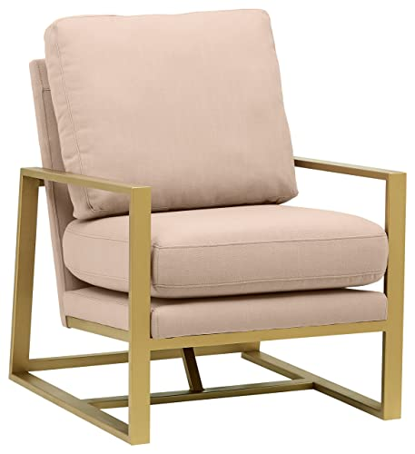 Rivet Charlotte Mid-Century Modern Upholstered Gold Accent Chair, 29 W, Dusty Rose