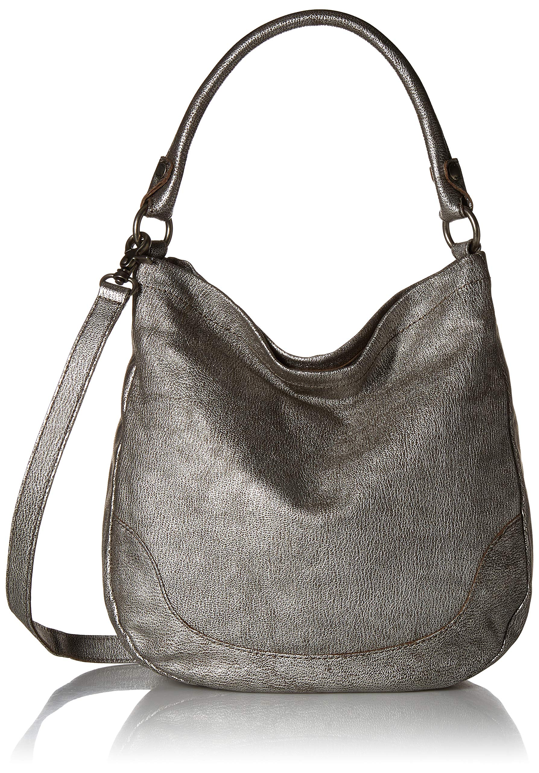 Frye Melissa Leather Hobo, Silver, One Size by FRYE