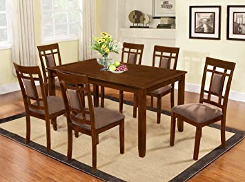 Amazon Com The Room Style 7 Piece Cherry Finish Solid Wood Dining Table Set Table Chair Sets