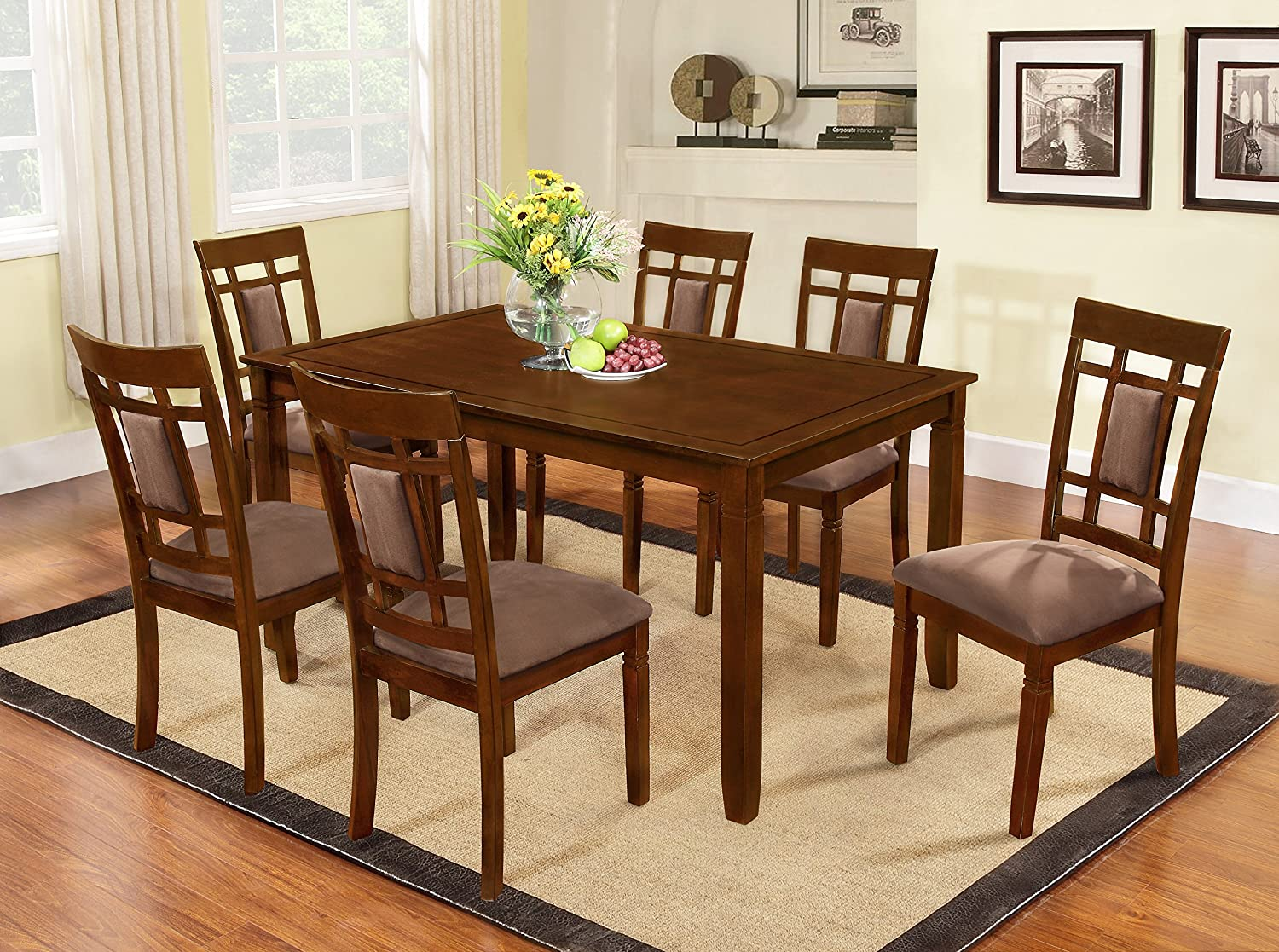 Amazon.com   The Room Style 7 Piece Cherry Finish Solid Wood Dining Table  Set   Table U0026 Chair Sets
