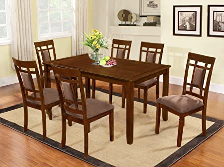 7 Pc Brand New Cherry Finish Solid Wood Dining Table Set And 6 Chairs