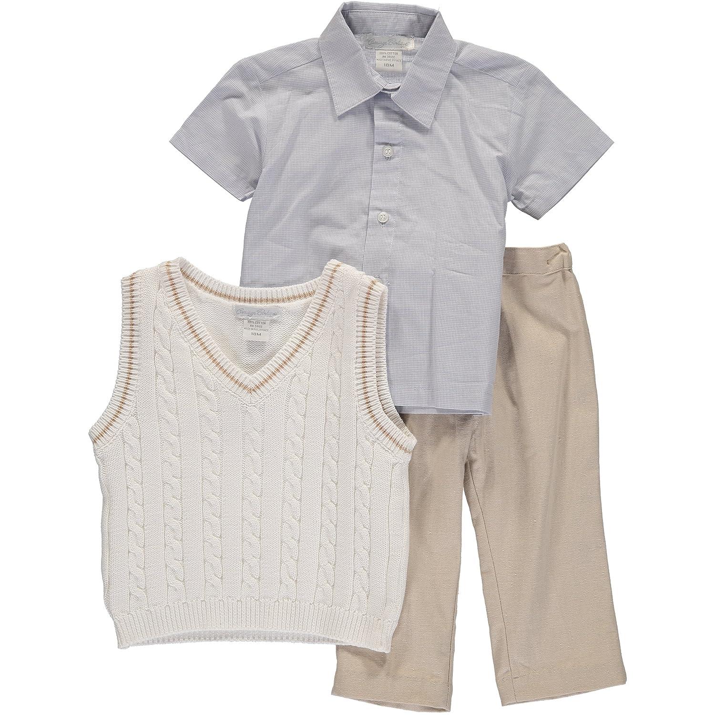 Boys Vest and Pants Set Blue Shirt and Tan Pants 3 Piece Set with White Vest