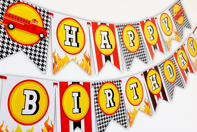 Fireman Party Happy Birthday Banner POP parties by Gwynn Wasson Designs