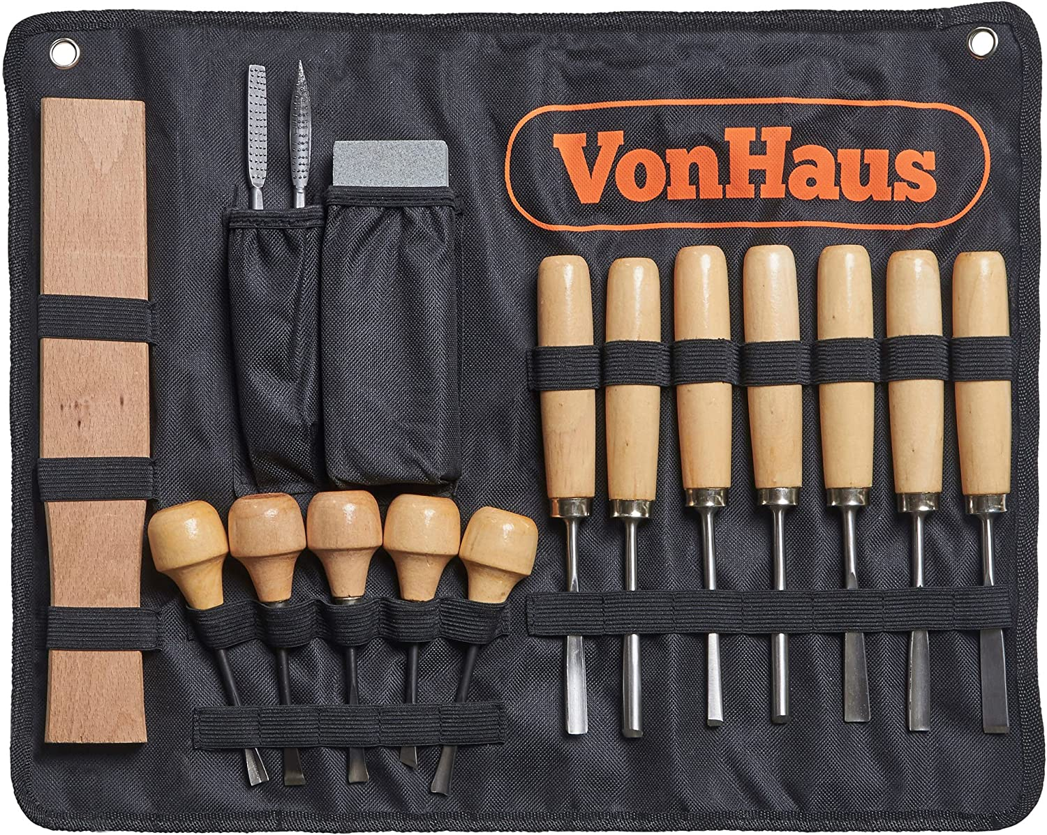 Amazon Com Vonhaus 16pc Wood Carving Tool Set With Wood Knives Carving Tools Files Sharpening Stone And Mallet Beginner Woodworking Chisels With Carry Case Arts Crafts Sewing