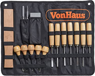VonHaus 16pc Wood Carving Tool Set with Wood Knives, Carving Tools, Files Sharpening Stone and Mallet - Beginner Woodworking Chisels with Carry Case