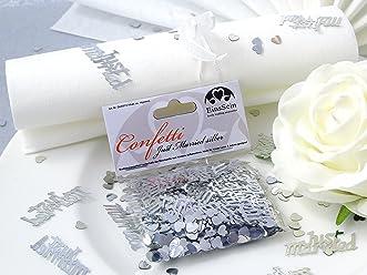 EinsSein 14g Streudeko Konfetti Hochzeit Just Married silber metallisch Tischdeko Hochzeit