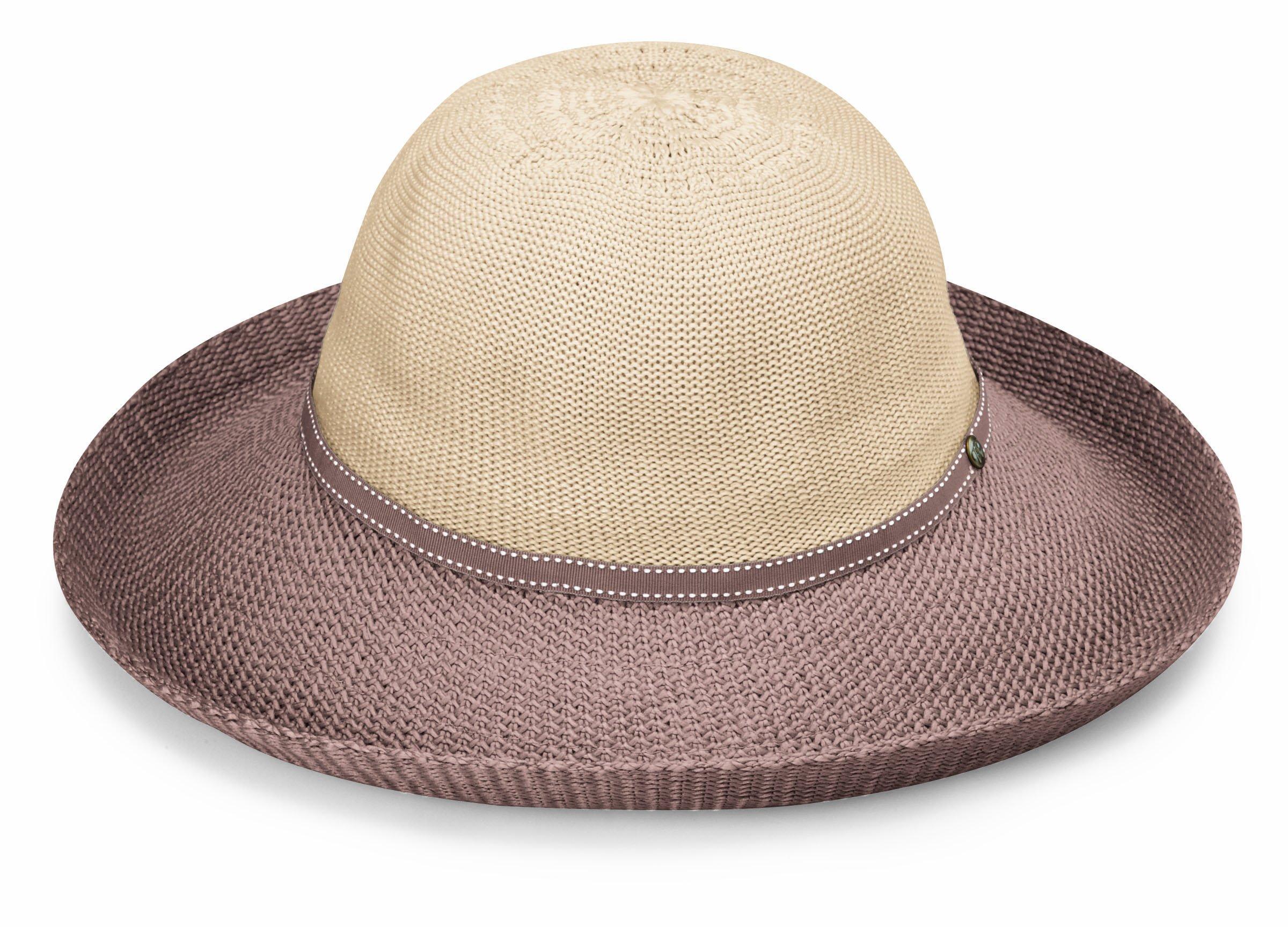 Wallaroo Hat Company Women's Victoria Two-Toned Sun Hat - Beige/Mocha - UPF 50+, Packable, Lined, Modern Style, Designed in Australia.