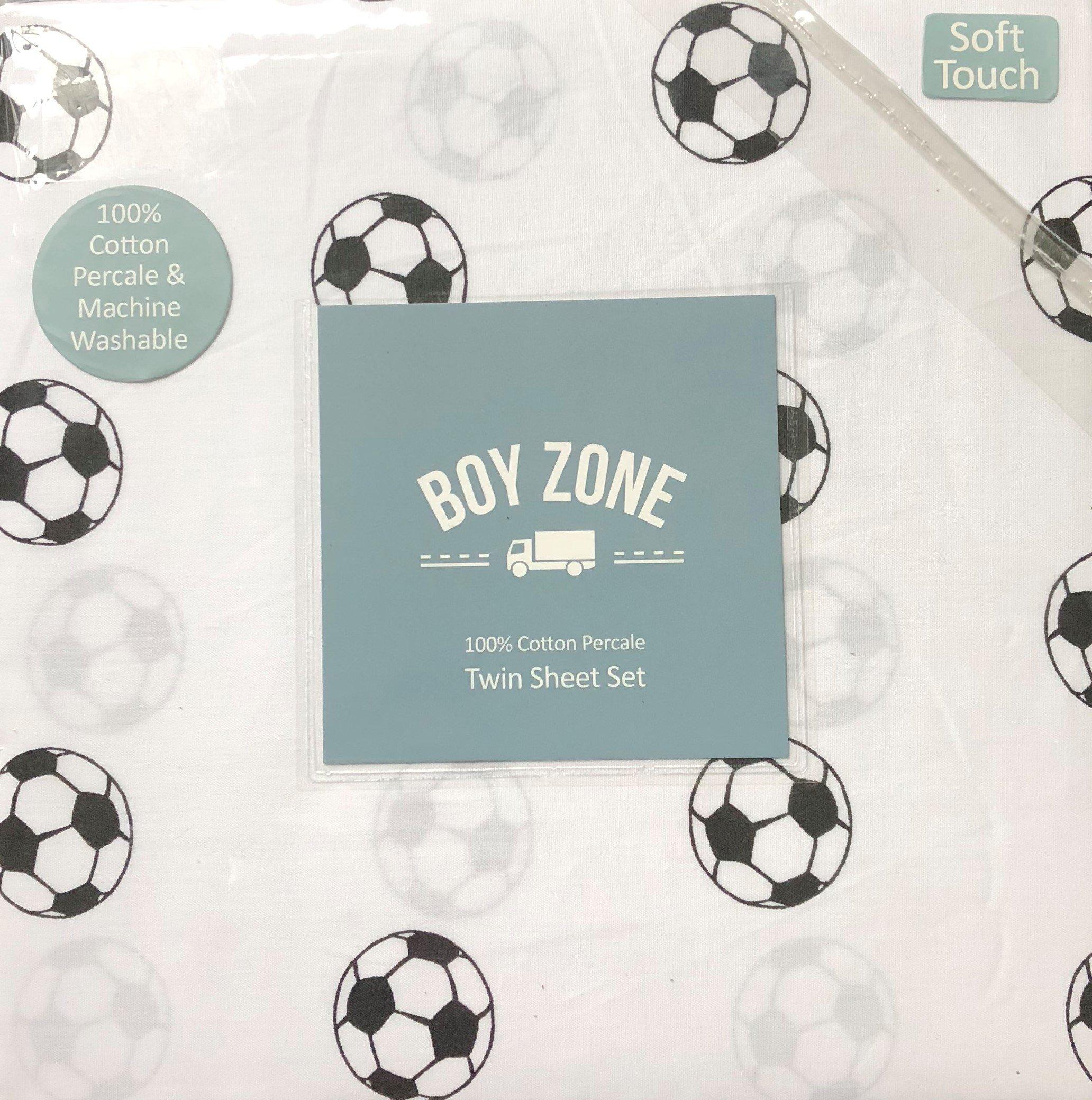 Boy Zone Soccer Twin Sheet Set 100% Cotton