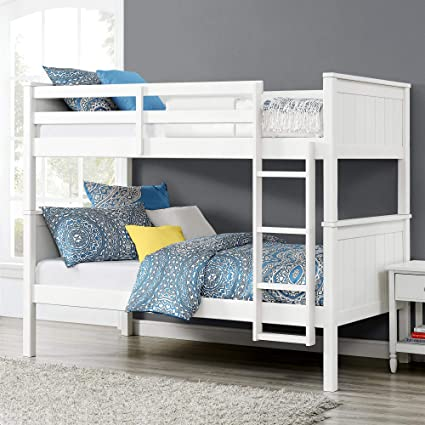 Aprodz Dalton Solid Wood Bunk Bed For Bedroom Wood White Amazon In Home Kitchen