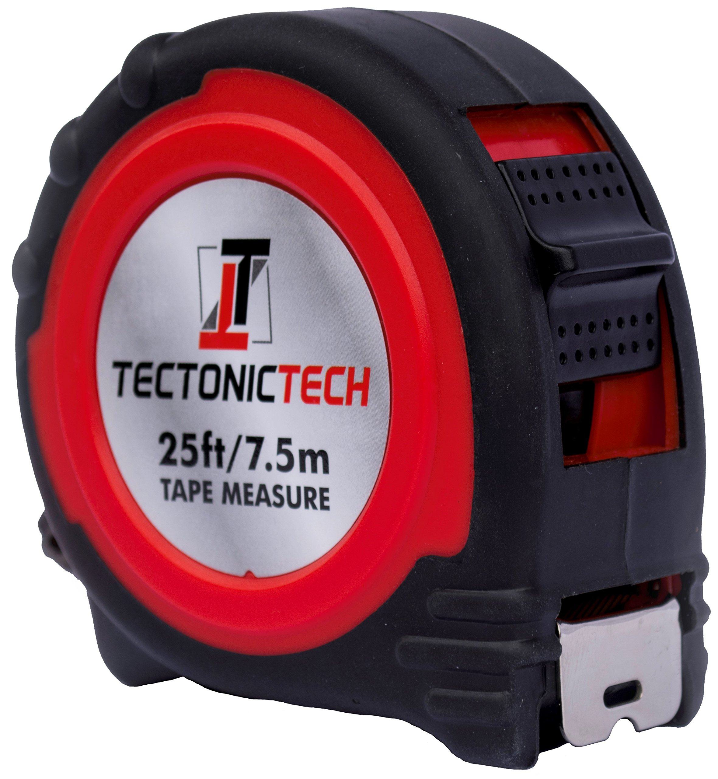 Tectonic Tech Locking Red Tape Measure 25 Foot - 7.5 Meters With Belt Clip and Durable Nylon Coated Inches and Metric by Tectonic Tech