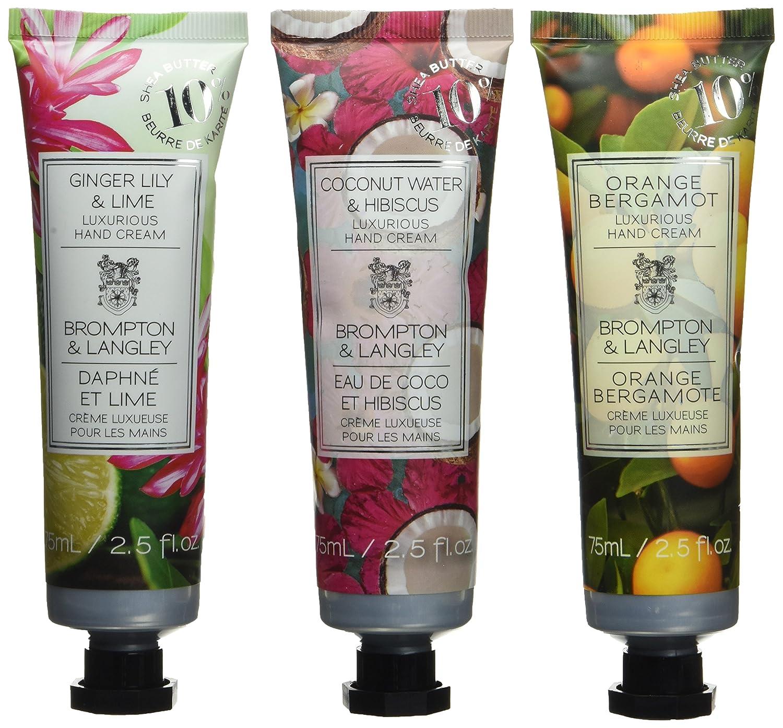 Upper Canada Soap Brompton and Langley 3-Piece Hand Cream Set, Orange/Rosemary/Jasmine