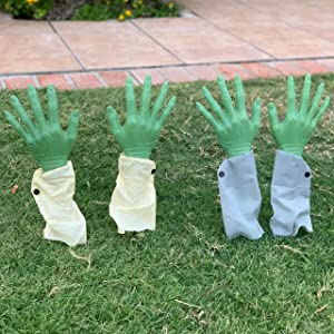 JOYIN Realistic Zombie Arm Stakes (Green), Halloween Yard Groundbreaker Stakes for Halloween Outdoor Decorations (2 Pair)