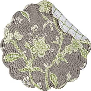 C&F Home Annabelle Floral Botanical Jacobean Spring Summer Round Cotton Reversible Machine Washable Placemat Set of 4 Round Placemat Set of 4 Green