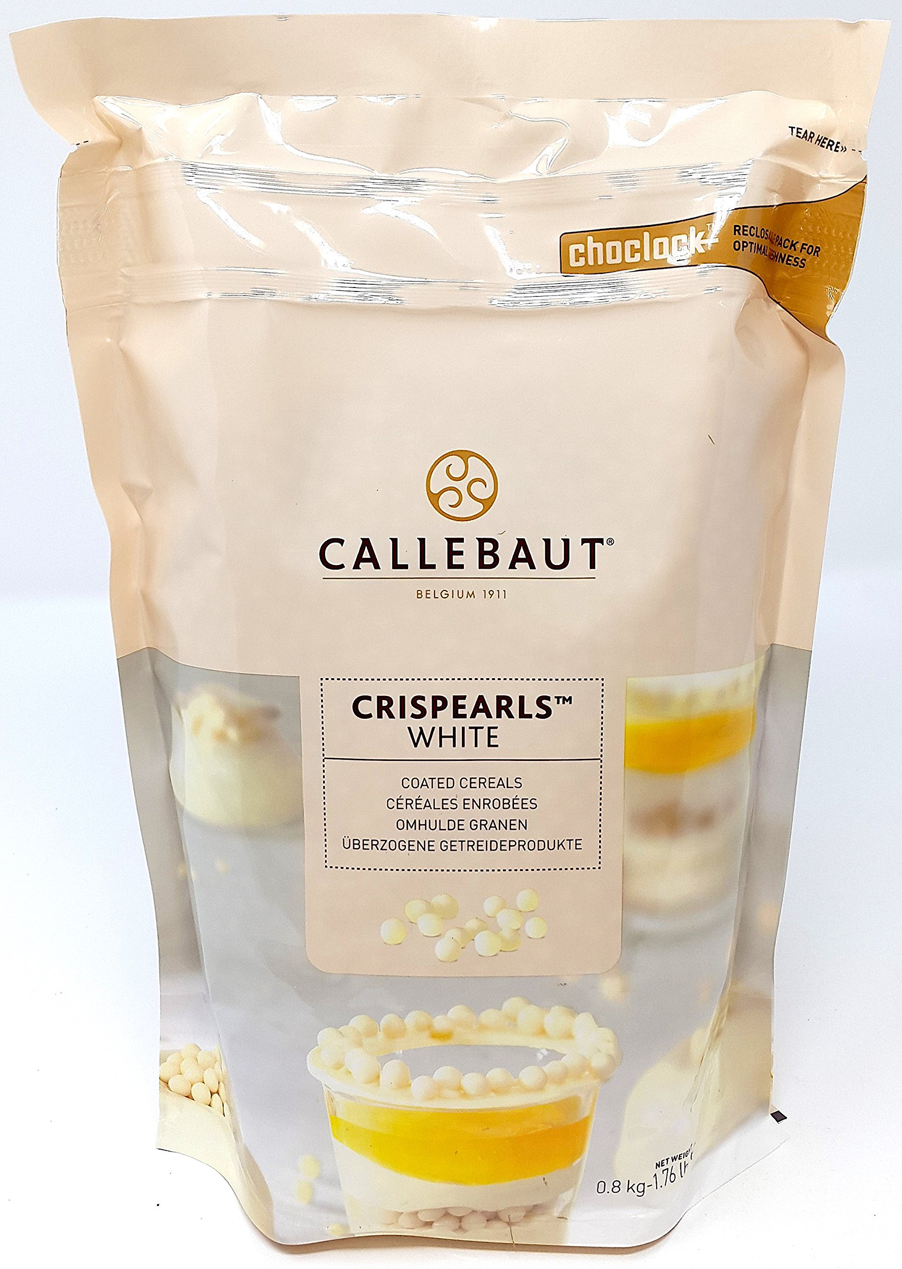 Callebaut White Chocolate Crispearls - Toasted Biscuit Pearls Coated in White Chocolate 800g