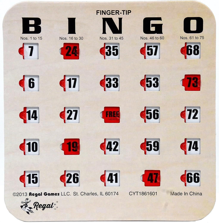 Regal Spiele Holzmaserung/Tan Fingertip Shutter Slide Bingo Karten