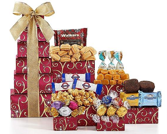 Cestas de regalo de vino de la torre de chocolate y dulces ...