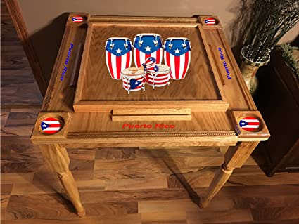 Puerto Rico Flag Domino Table With The Congas Mvp