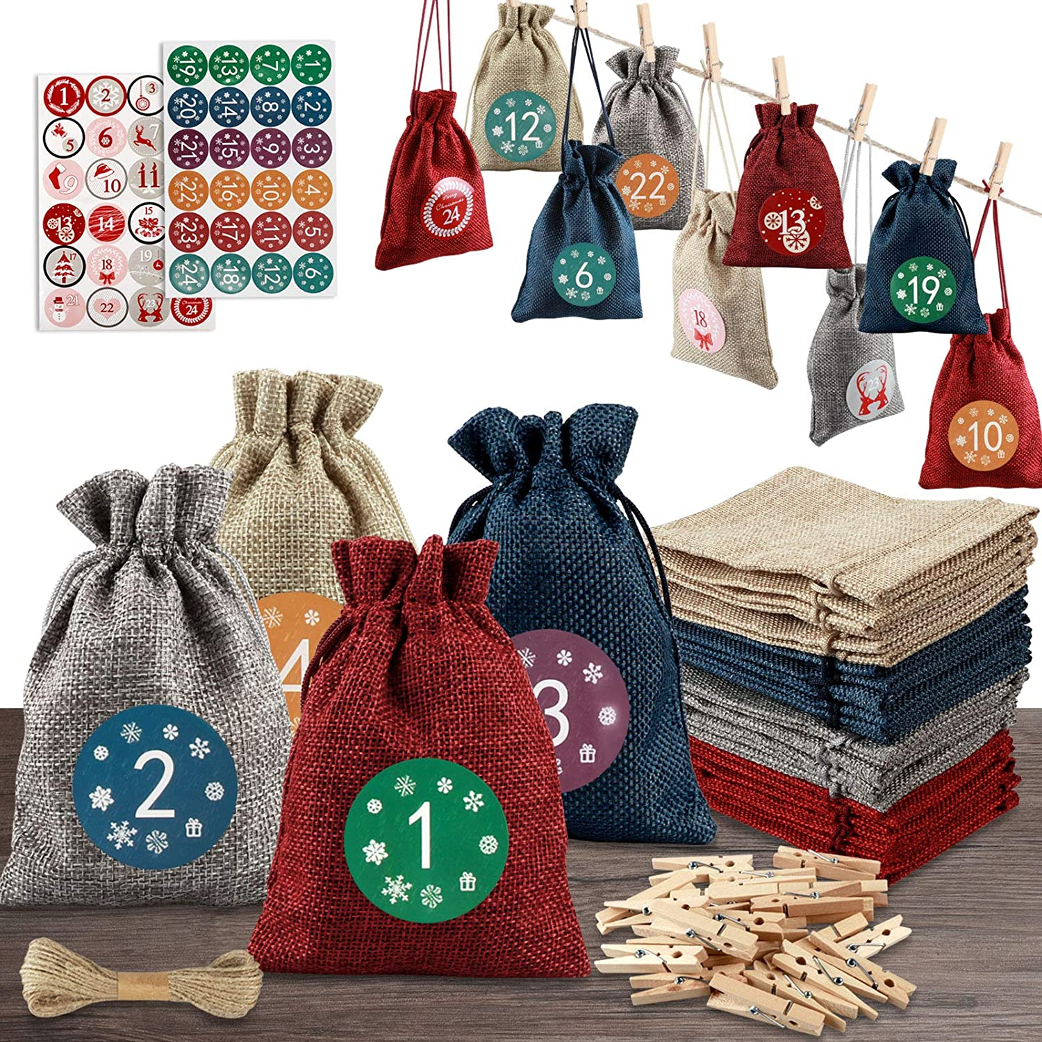 Christmas Advent Calendar 2020,24 Days Countdown Calendar Christmas Advent Gift Bags with 24 Number Stickers DIY Xmas Countdown Christmas Decorations for Wall Home Office