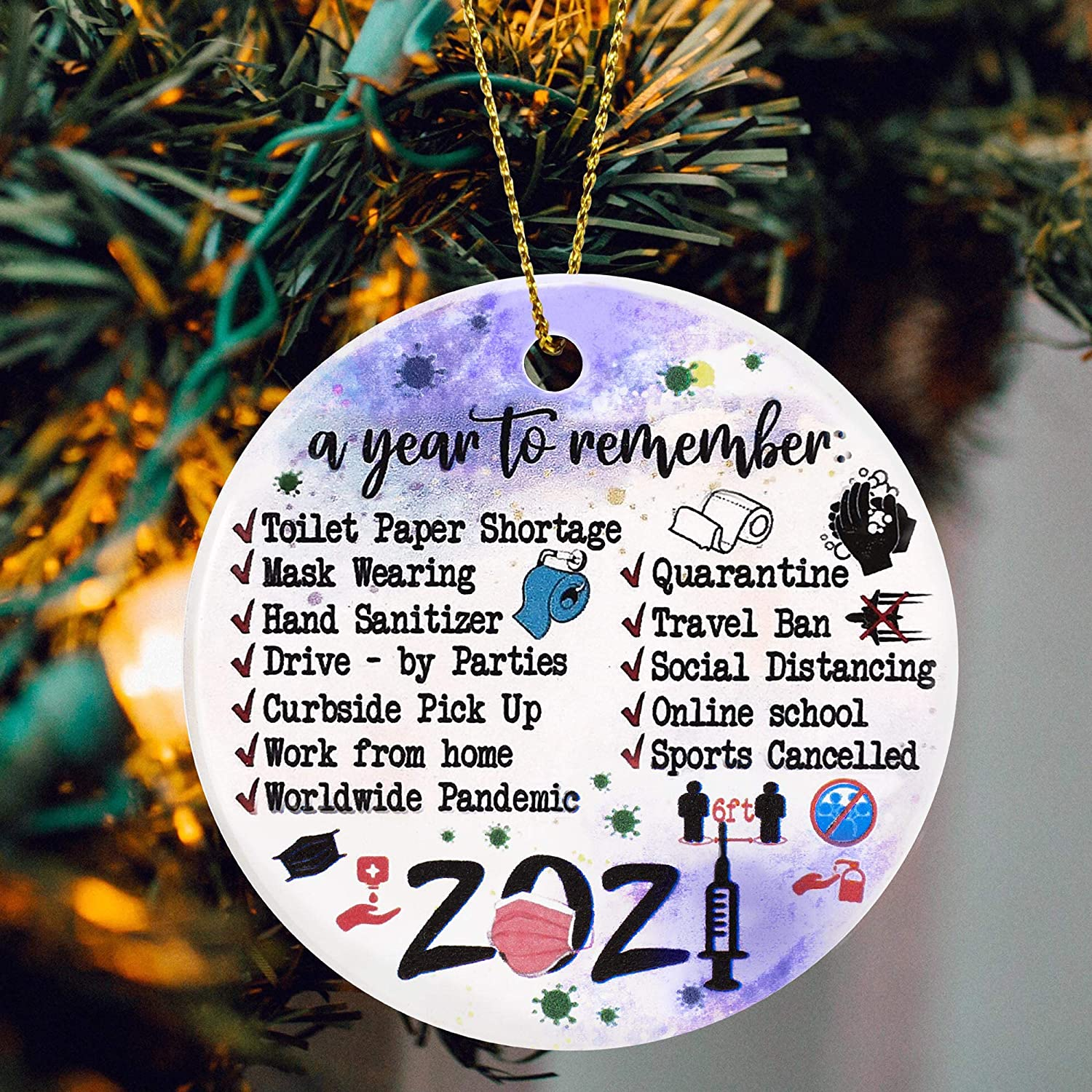 Christmas Ornaments 2021 Series End Amazon Com Jsjoy 2021 A Year To Remember Ornaments Year Of Quarantine Ornament Two Side Printed 2020 Remembering Christmas Decorations Tree Surviving Ornaments Gifts For Home Decor Kitchen Dining