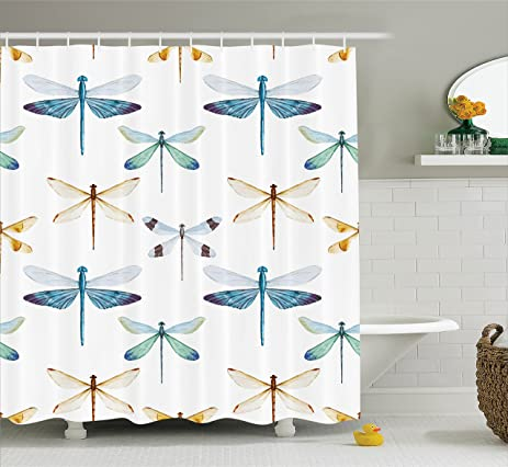 Country Decor Shower Curtain Set By Ambesonne, Collection Of Regularly  Lined Up Limitless Dragonfly Patterns
