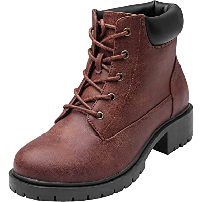 5e2c2079b650 Women s Wide Width Ankle Boots - Low Chunky Heel Foldover Lace up Martin  Boots