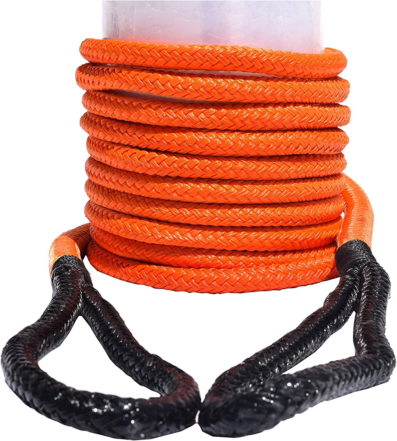 Orange QIQU 3//4*30ft Kinetic Energy Recovery Rope,Double Braided Nylon Kinetic Rope with Loops
