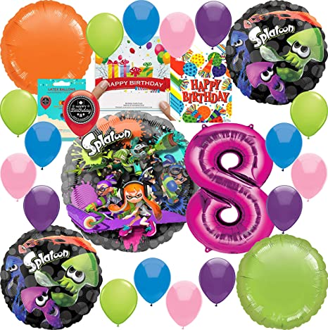 Amazon Splatoon Party Supplies Girls 8th Birthday Pink Balloon