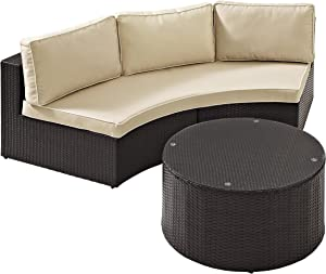 Crosley Furniture Catalina 2-Piece Outdoor Wicker Coffee Table and Sectional Sofa with Sand Cushions - Brown