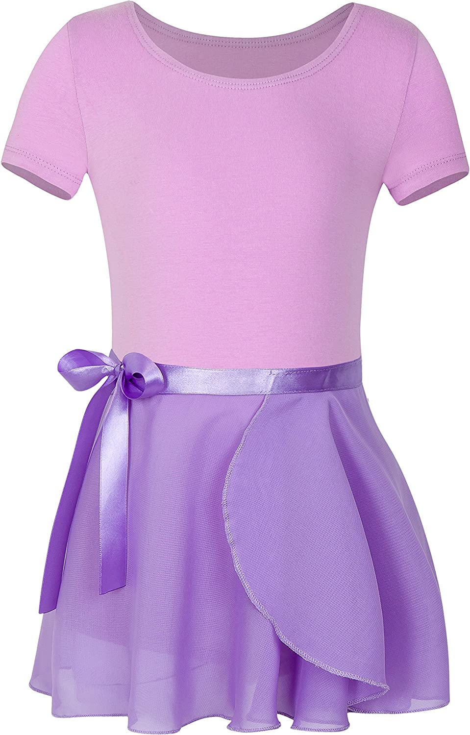 YEEIC Girls Short Sleeve Wrap-Round Skirt Leotard Dress