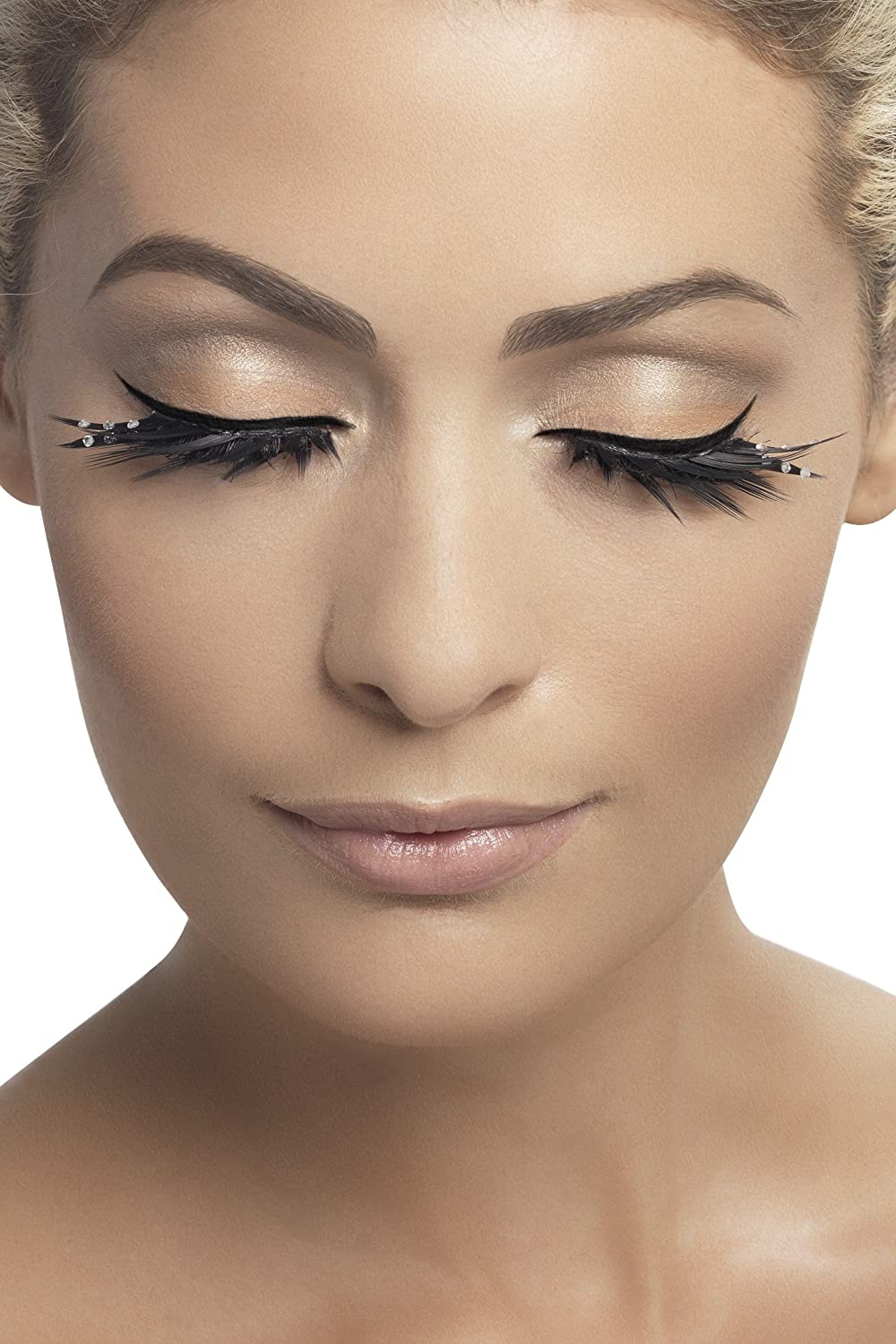 89cf7583763 Amazon.com: Smiffy's Fever Women's Eyelashes Black with Crystals Top and  Bottom Set, One Size: Clothing