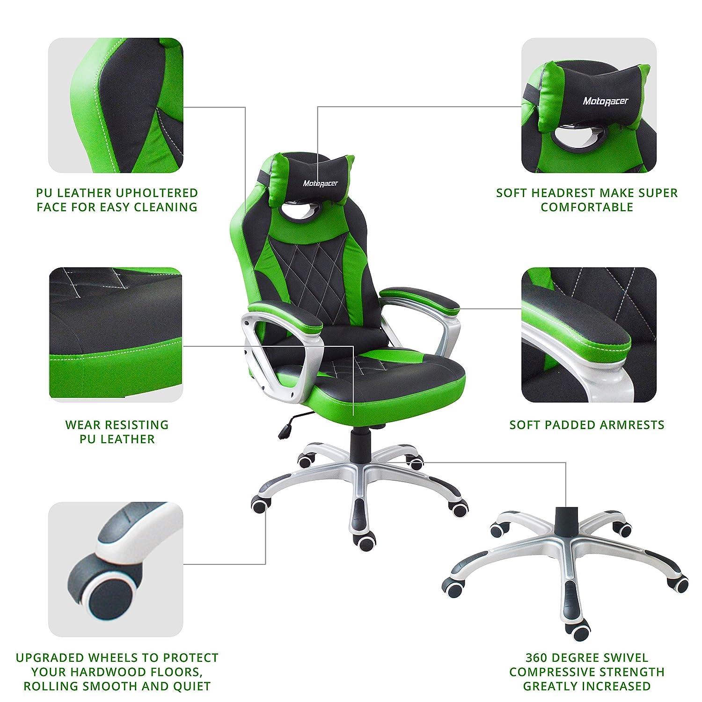 Motoracer Pro Edition videojuegos silla | el mejor ergonómico silla de Racing para juegos de vídeo | Racing Estilo Gamer silla | acolchado reposabrazos ...
