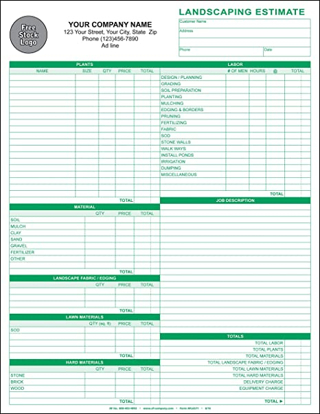Landscaping Lawn Care Estimate 3 Copy Triplicate 8 5 X11 Personalized 1000 Forms