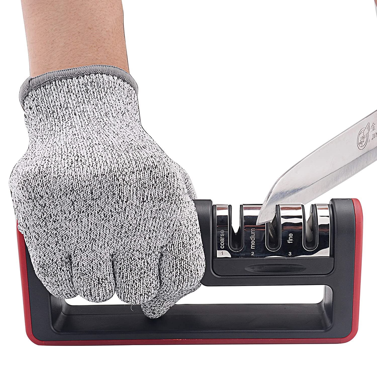 Kitchen Knife Sharpener, 3-Stage Knife Sharpening Tool Helps Repair, Restore and Polish Blades - Reveal a Razor-sharp Blade, (Cut-Resistant Glove Included)