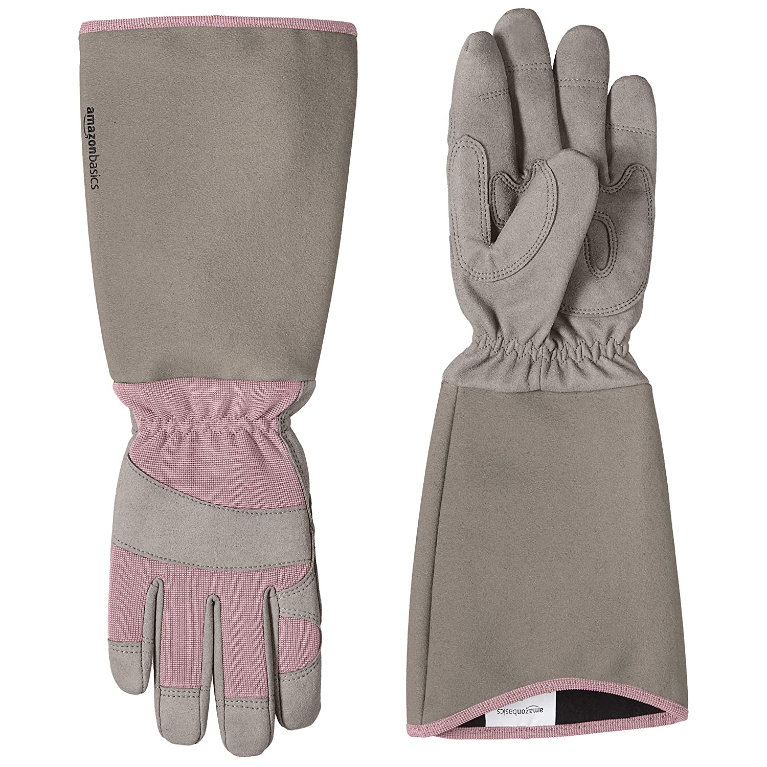 AmazonBasics Rose Pruning Thorn Proof Gardening Gloves with Forearm Protection - Pink, XL