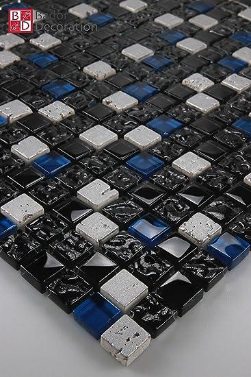 Bador Glasmosaik Mosaik Marmoriert Fliesen Mosaikfliesen Glasfliesen - Fliesen schwarz marmoriert