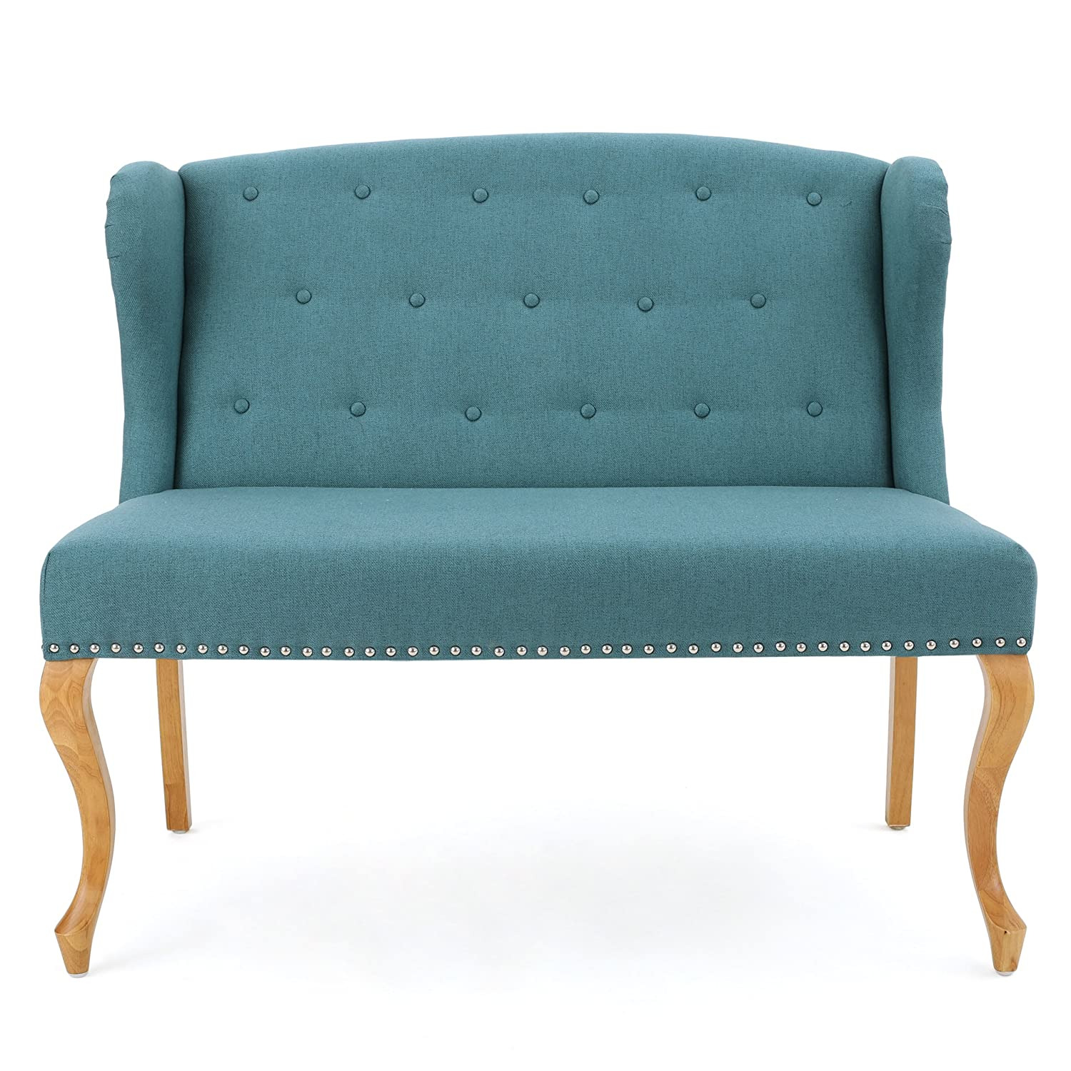 Peachy Christopher Knight Home 299488 Ellen Dark Teal Fabric Loveseat W Nailhead Accents Alphanode Cool Chair Designs And Ideas Alphanodeonline