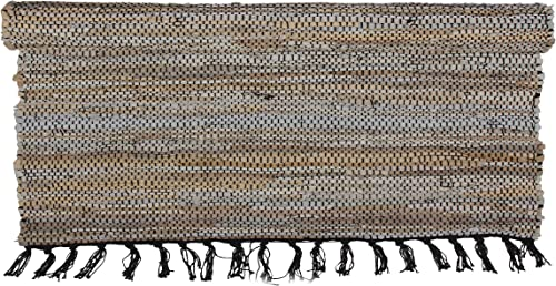 Eightmood Malene Leather Woven Area Throw Rug, Fringe Trim Large – 75.5 x 56, Light Brown