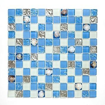 Carrelage Cuisine Carrelage Salle De Bains Mosaïque Crystal Coquillage Bleu  Frise Neuf # 450