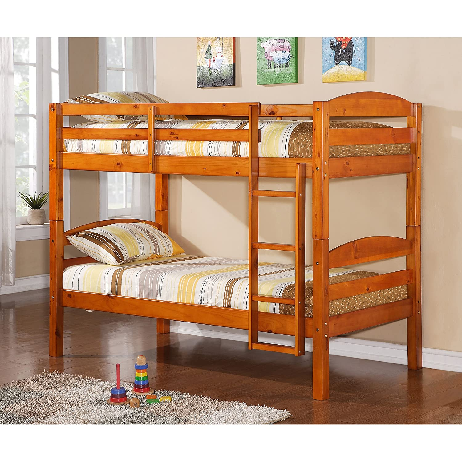 Charmant Amazon.com: WE Furniture Twin Over Twin Solid Wood Bunk Bed, Honey: Kitchen  U0026 Dining