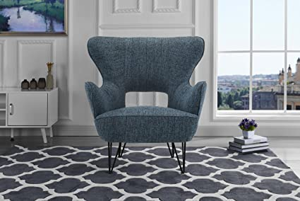 Mid-Century Modern Linen Fabric Accent Armchair with Shelter Style Living  Room Chair (Dark Blue)
